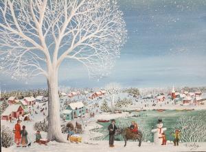 COUSTRY Thérèse -Deux enfants sur un âne
